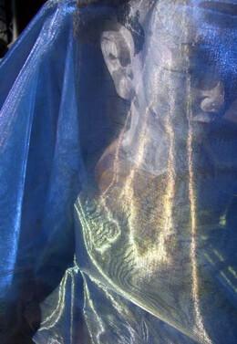 """Two Tone Organza Blue Gold & Grey Fabric (28"""" width x 3 yds)"""