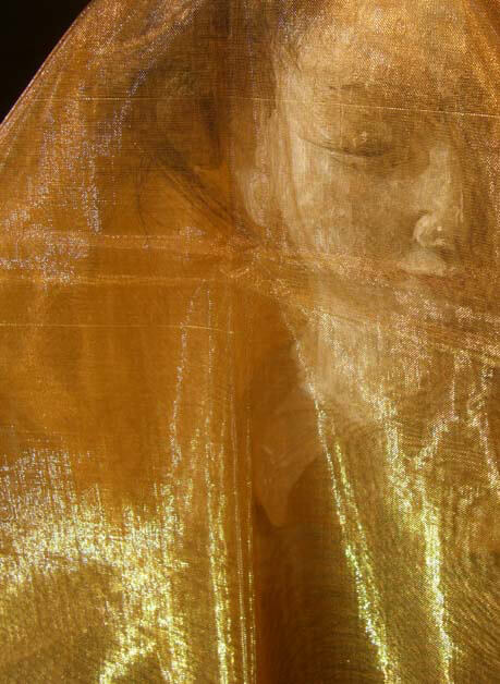 "Two Tone Organza Light Gold & Gold ( 28"" width x 3 yds)"