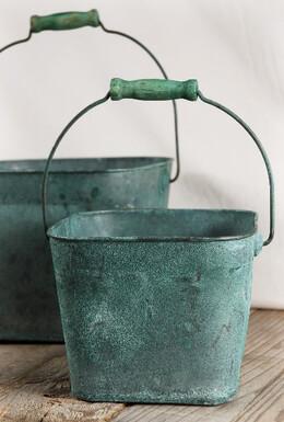 Copper Buckets Verdigris|Set of 2