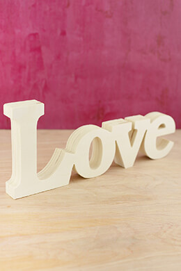 Unfinished Wood Love Sign 12in