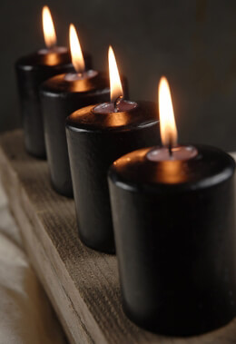 4 Large Black Votive Candles