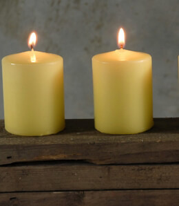 Pillar Candles Unscented Buttercup Yellow 3in (Pack of 4)