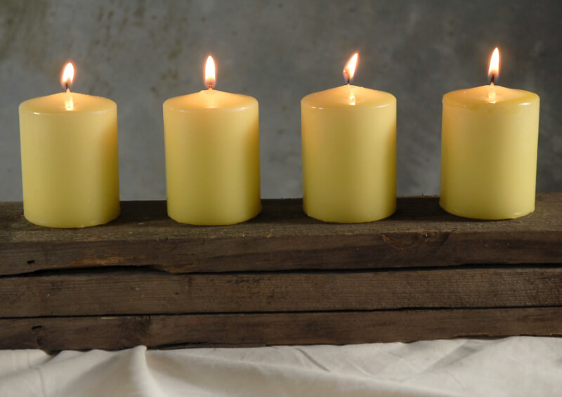 4 Chamber 3in Pillar Candles Buttercup Yellow, Cotton Wicks, Unscented