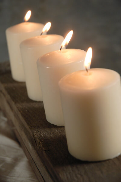 "Unscented Candles 3"" Ivory 25 hr burn (4 candles)"