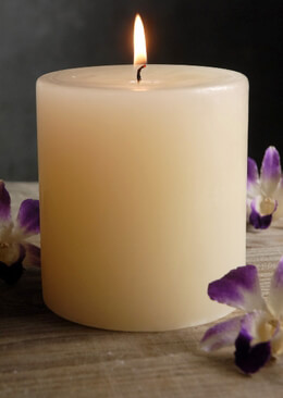 Ivory Pillar Candle 4x4in
