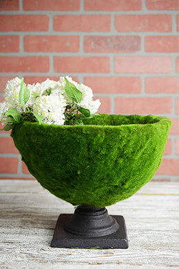 Faux Moss Covered Pedestal Urn 13x10