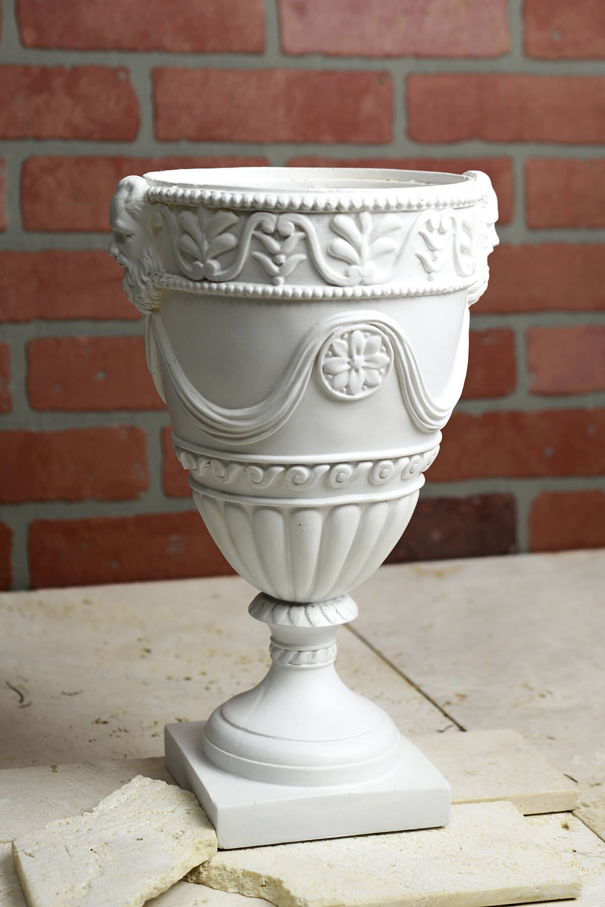 "13"" White Grecian Urn"