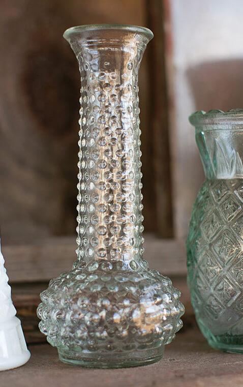 Heirloom Hobnail Bud Vase Clear 7.5in