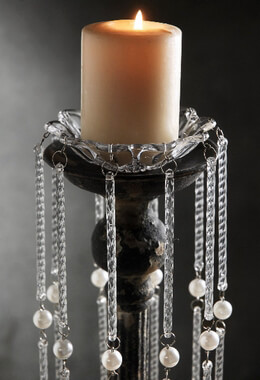 Crystal and Pearl Hanging Bobeche 16in