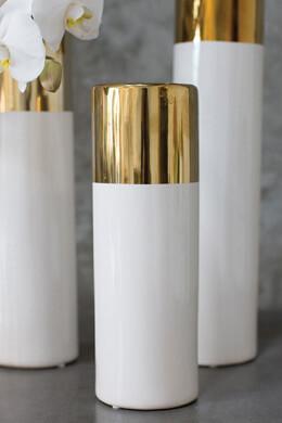 White & Gold 12in Klein Vase