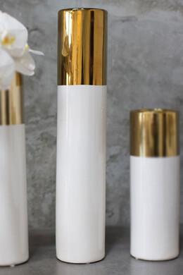 White & Gold 20in Klein Vase