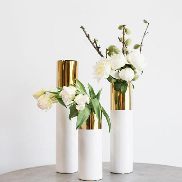 White & Gold 20in Klein Vase