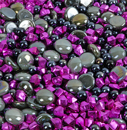 Vase Gems Gray with Magenta Crystals (Pack of six 11oz bags)