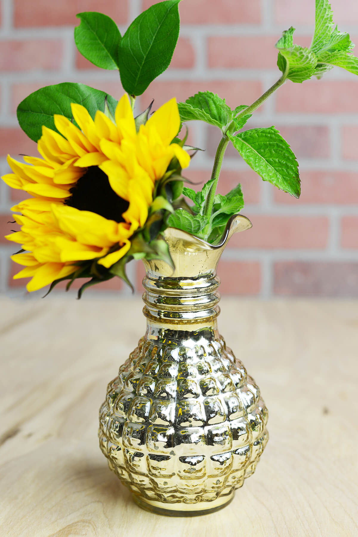 Gold Mercury Glass Carraway Vase 8""