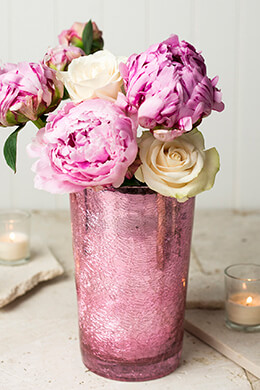 Pink Crackled Glass 8in Vase