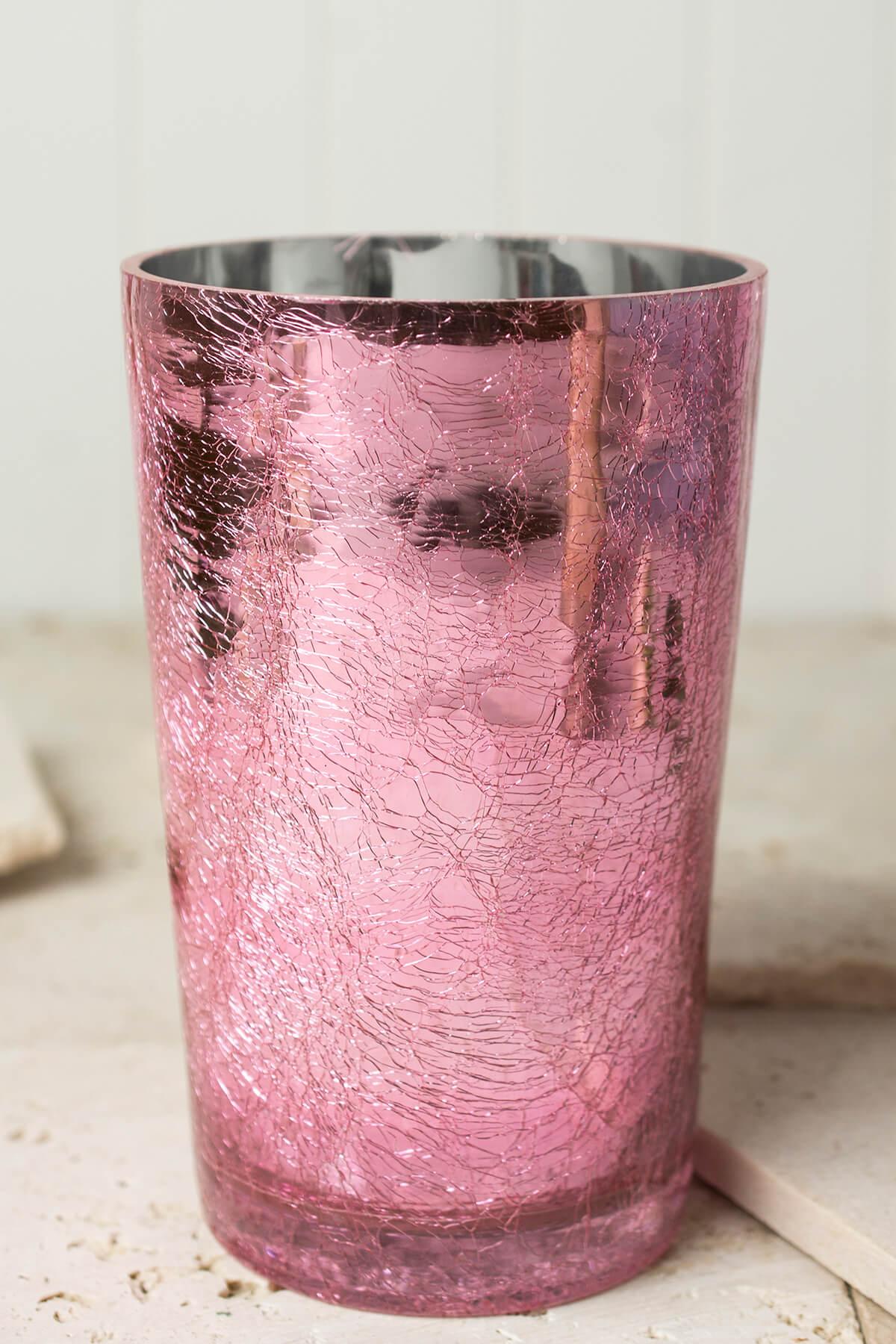 Pink Crackled Glass 8in Vase