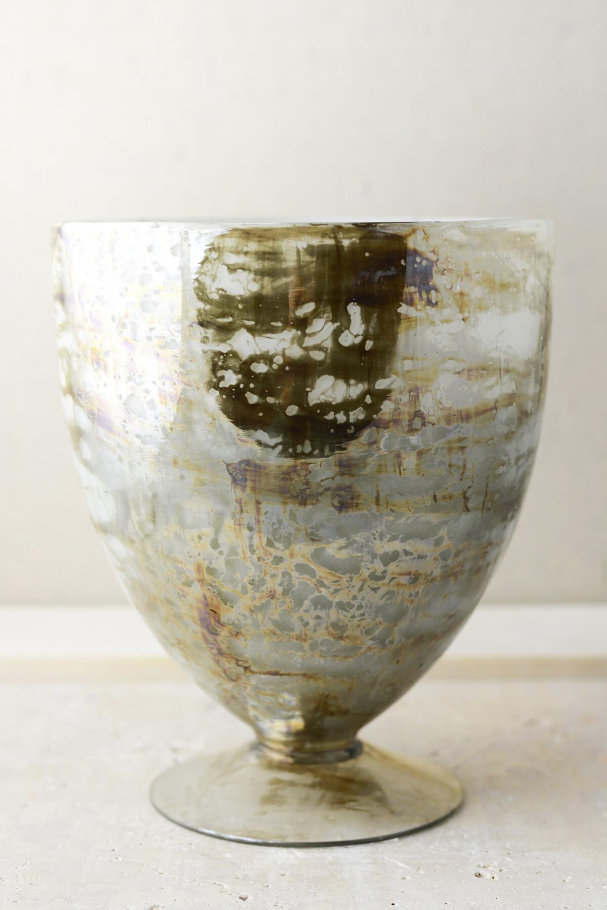 "Mercury Glass 8.5"" Embrace Glass Floral Vase"