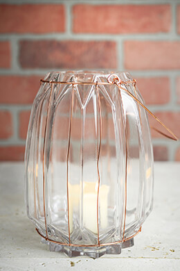 Chico Glass & Copper Wire Vase & Candle Holder