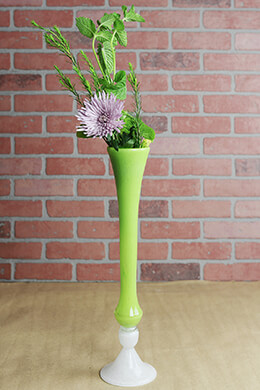 "Hand Blown 20"" Green Glass Vase"