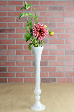 "Hand Blown Glass 20"" Vase White"