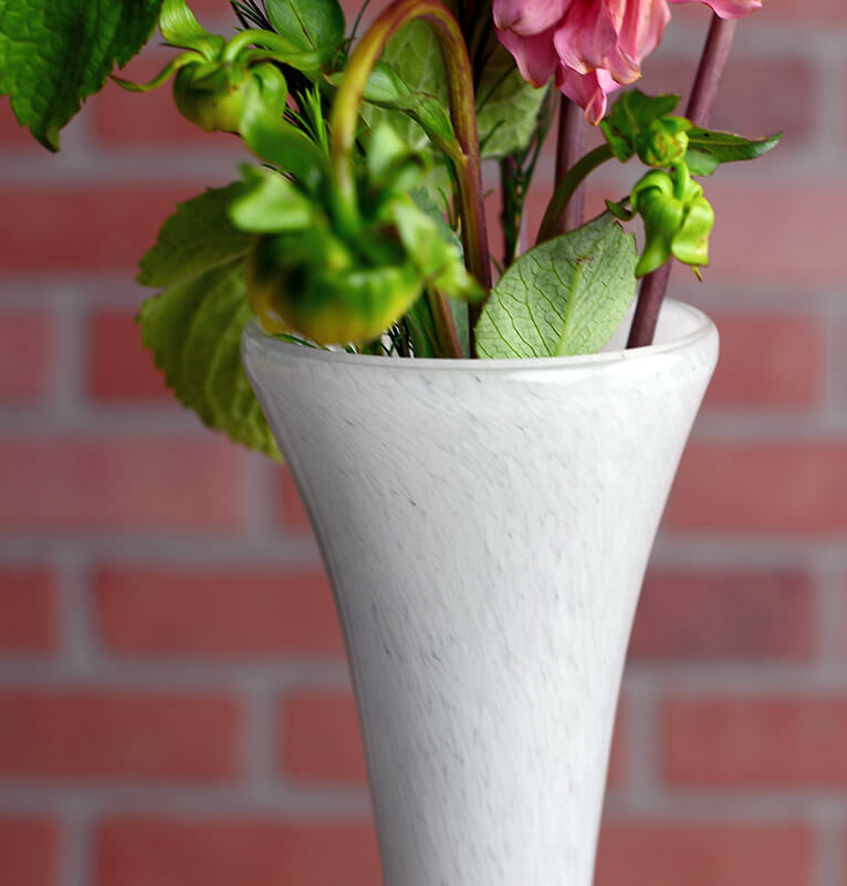 """Maui Vase Hand Blown White Glass 20"""""""