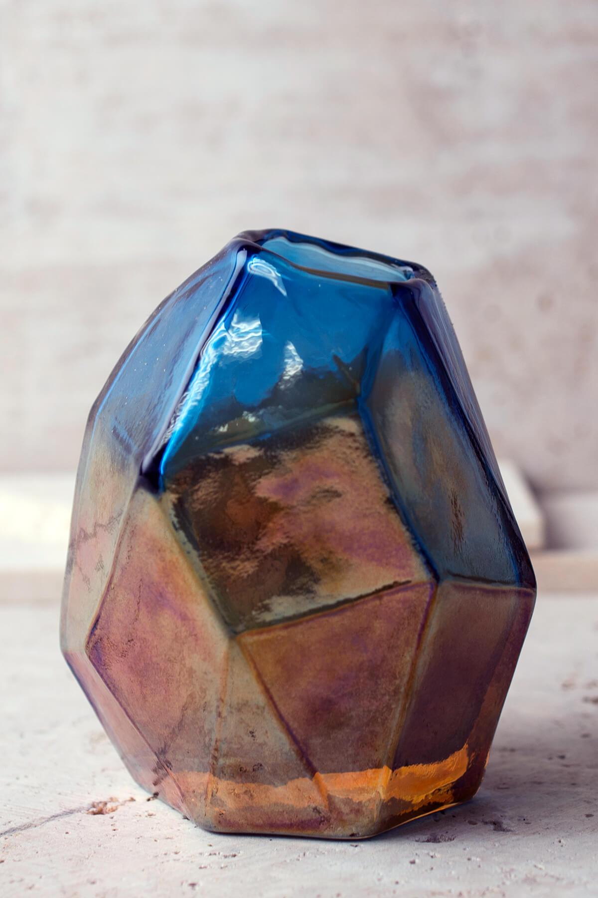 Iridescent Blue Mogul Bohemian Bud Vase