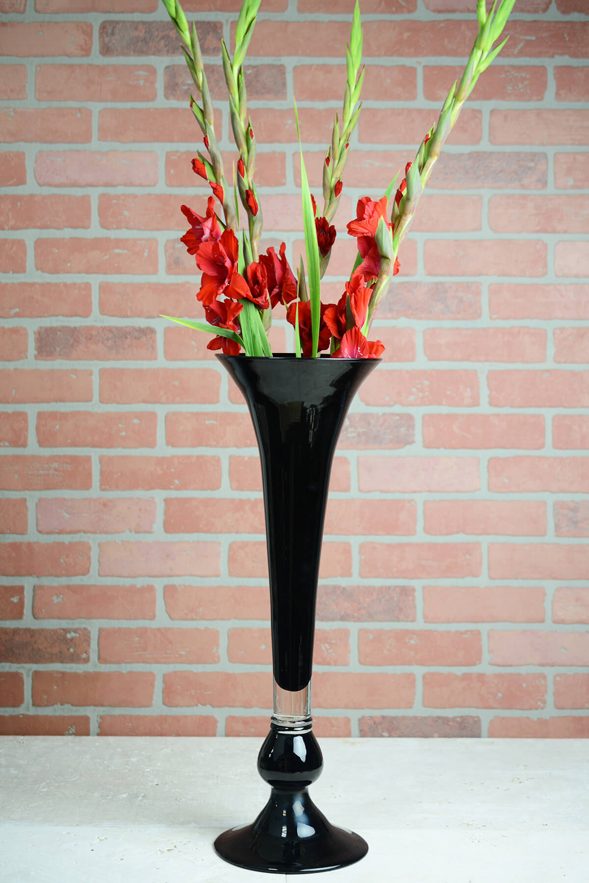 Black Glass 23 Inch Trumpet Vase