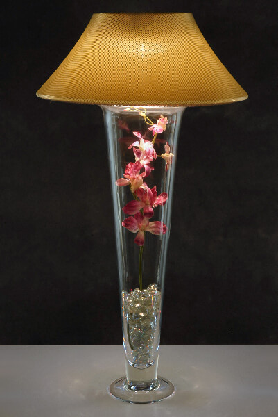 Micro dot gold lamp shade light for tall trumpet vases