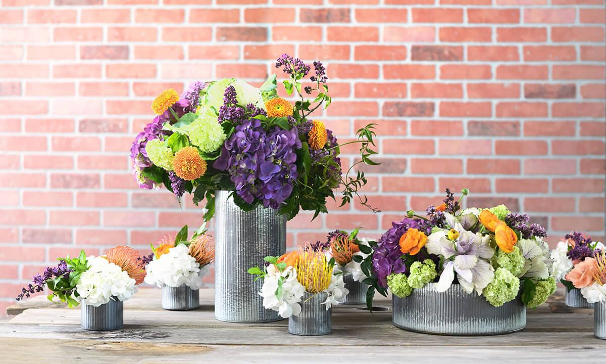"""6 Norah Corrugated Zinc 3.5"""" Vase"""