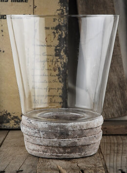 Glass Candleholder with Terra Cotta Base