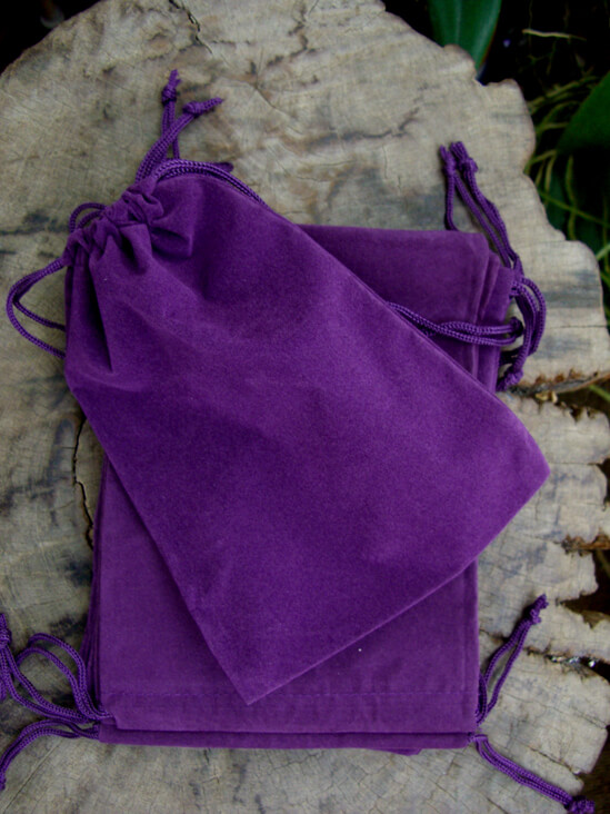 Velvet Drawstring Bags Purple 5x7 (25 bags)