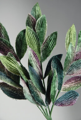 "Velvet Leaves 9"" Blue, Green, Purple"