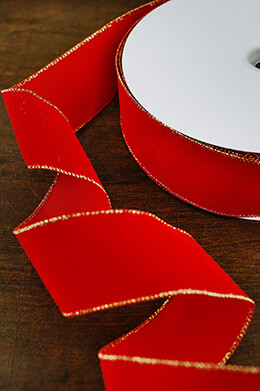 Red Velvet Christmas Ribbon with Gold Edges, Wired, 2.5in x 50yd