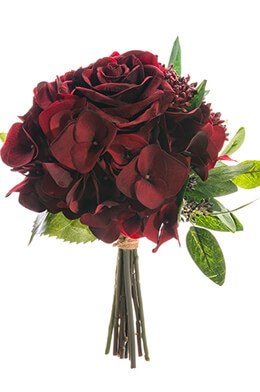 "12"" Velvet Rose Bouquet  Burgundy"