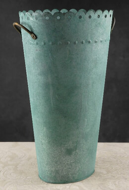 "Copper Verdigris 18"" Flower Market Bucket Scalloped Edge & Handles"