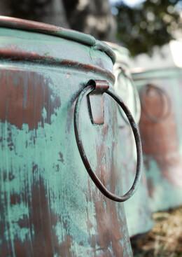 Bucket Planters Copper Verdigris | Set of 3