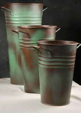"Set 3 Flower Market Buckets Copper 19 3/4"" - 14-3/4"" -12"""