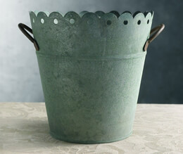 "Verdigris  8"" Scalloped Metal Bucket with Handles"