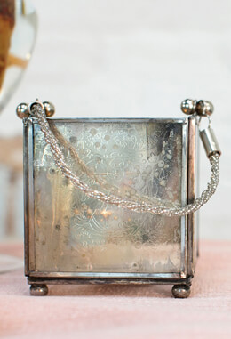 Victoria Square Etched Glass Candle Holder Lantern 4in