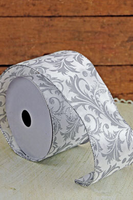 Silver Glitter & White Christmas Ribbon Wired Damask 2.5in x 24ft
