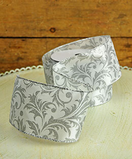 Vine Ribbon Light Gray 2.5in x 24ft