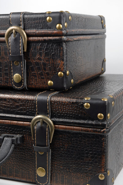 Faux Leather Vintage Suitcases, Wedding Props