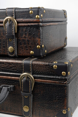 2 Faux Leather Vintage Suitcases, Wedding Props