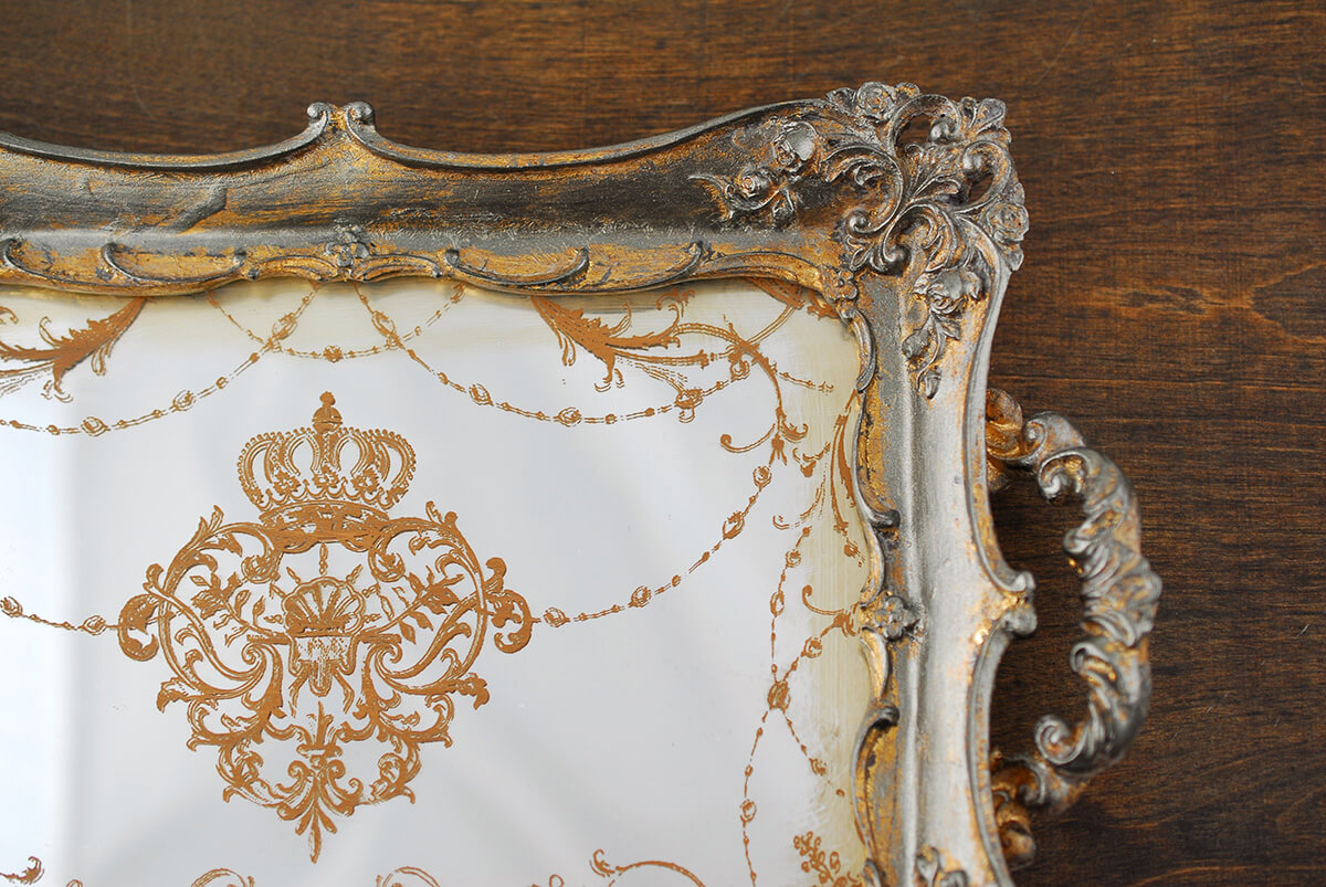 Antique Gold Framed Vintage Mirror Tray 12x8