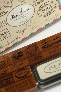Vintage Par Avion Rubber Stamp Set by Cavallini & Co.