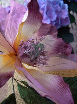Vintage Silk Magnolia Flowers Lavender Velvet
