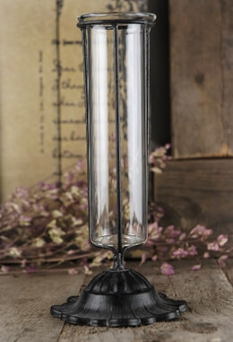 Vintage Test Tube Bud Vase w/ Metal Holder