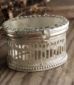 Vintage Trinket Box Pewter & Glass Oval Box