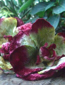 Vintage Velvet Flowers Double Burgundy & Green Blossoms