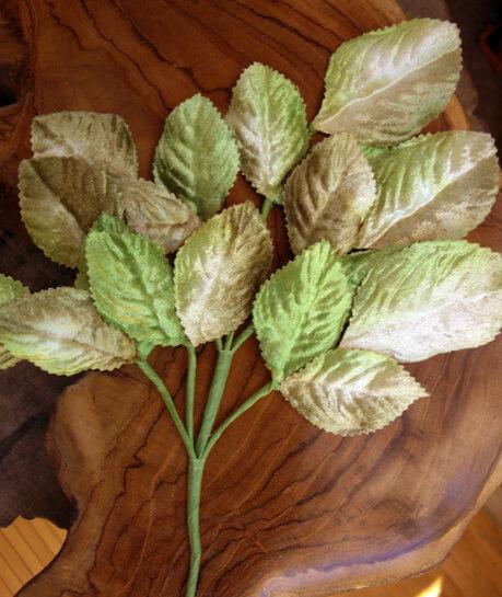 Vintage Velvet Rose Leaves Green & Beige